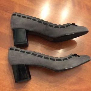 Bandalino gray suede with black short block heels